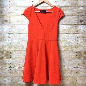 MINKPINK Burnt Orange Dress Cap Sleeve